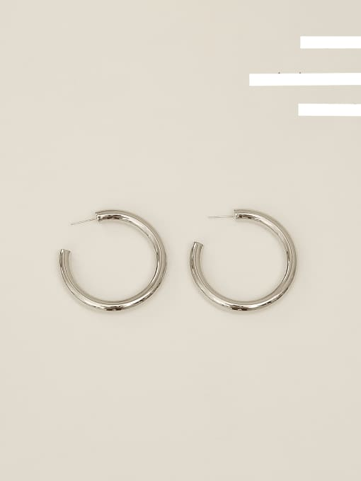 White K [large] Copper Alloy Round Minimalist Hoop Earring